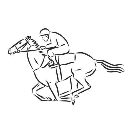 Vector illustration of a racing horse and jockey Stock fotó - 136138745