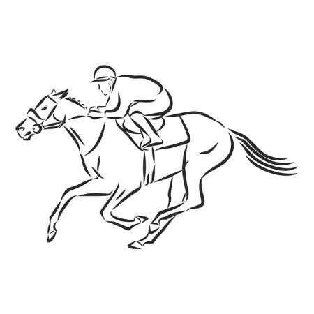 Vector illustration of a racing horse and jockey Stock fotó - 136138746