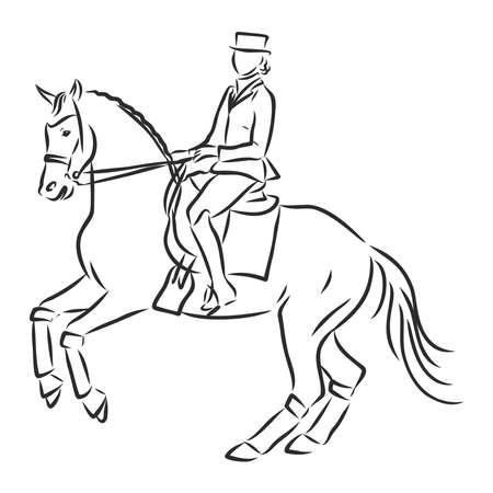 A sketch of a dressage rider on a horse executing the half pass. Stock fotó - 136138858