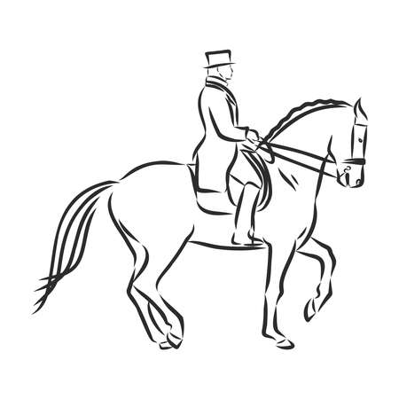 A sketch of a dressage rider on a horse executing the half pass. Stock fotó - 136138855