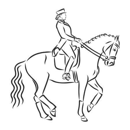 A sketch of a dressage rider on a horse executing the half pass. Stock fotó - 136138863