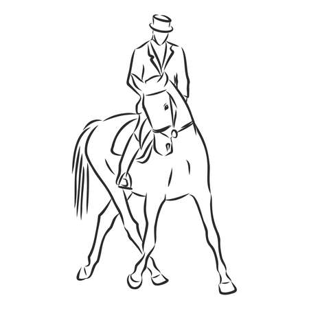 A sketch of a dressage rider on a horse executing the half pass. Stock fotó - 136138868