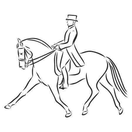 A sketch of a dressage rider on a horse executing the half pass. Stock fotó - 136138872