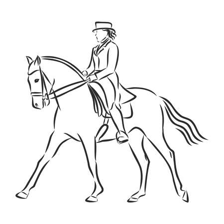 A sketch of a dressage rider on a horse executing the half pass. Stock fotó - 136138927