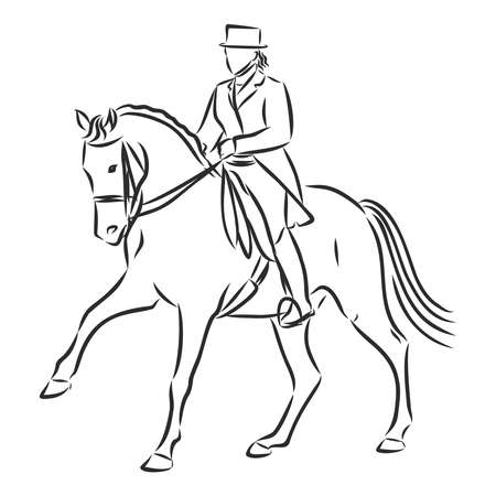 A sketch of a dressage rider on a horse executing the half pass. Stock fotó - 136138932