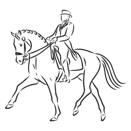 A sketch of a dressage rider on a horse executing the half pass. Stock fotó - 136139004