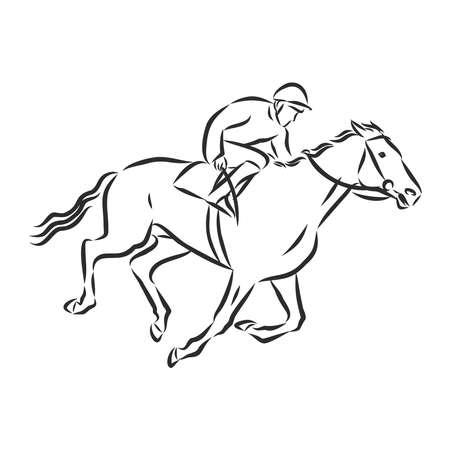 Vector illustration of a racing horse and jockey Stock fotó - 136139011