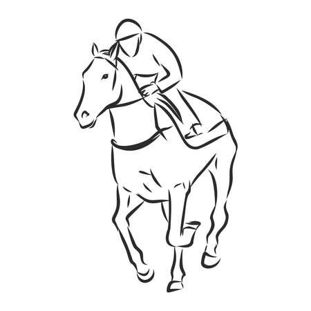 Vector illustration of a racing horse and jockey Stock fotó - 136139012