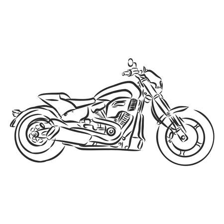 Motorcycle vector, realistic illustration. Black motorbike half-face with many details on a white background