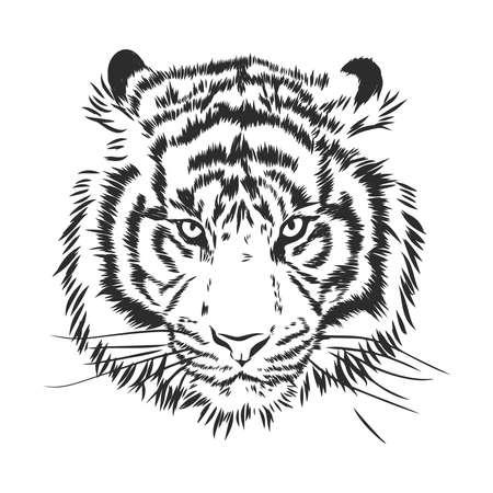 Silueta de cabeza de tigre enojado, ilustración de dibujo vectorial