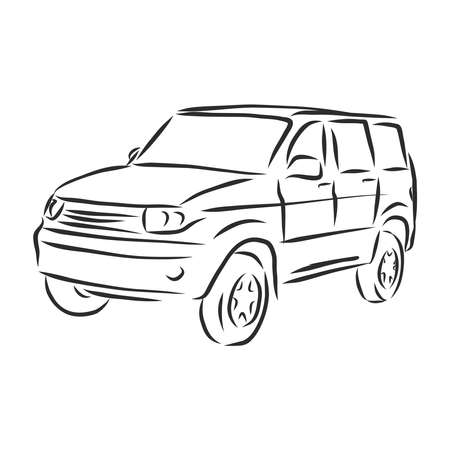 Car concept. Car sketch.Vector hand drawn. Autodesign. Automobile drawing. Ilustracja