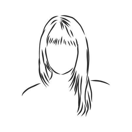 A sketch of a female hairstyle. A freehand vector illustration. 版權商用圖片 - 137755023