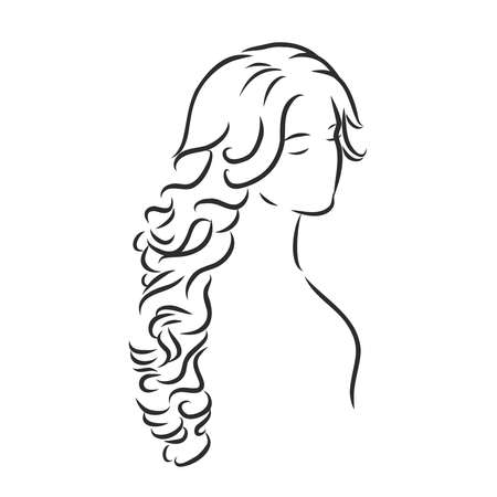 A sketch of a female hairstyle. A freehand vector illustration.