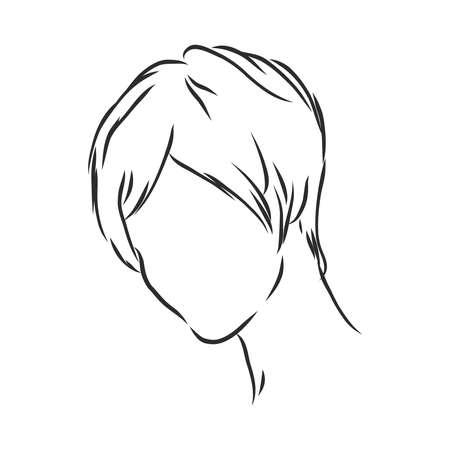 A sketch of a female hairstyle. A freehand vector illustration. 版權商用圖片 - 137755107