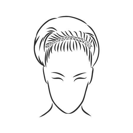 Uno schizzo di un'acconciatura femminile. Un'illustrazione vettoriale a mano libera.