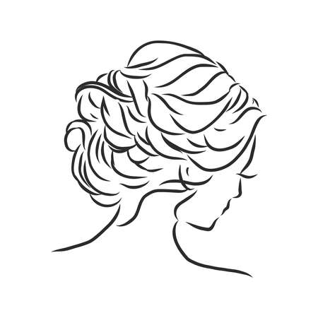 A sketch of a female hairstyle. A freehand vector illustration. 版權商用圖片 - 137755115