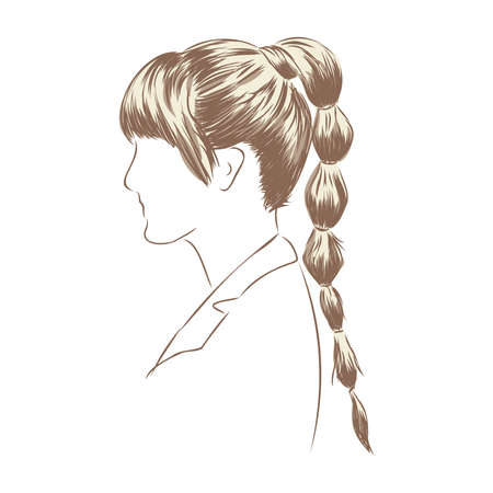 A sketch of a female hairstyle. A freehand vector illustration. 版權商用圖片 - 137755116