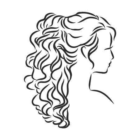A sketch of a female hairstyle. A freehand vector illustration. 向量圖像