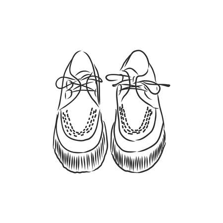 Sketching a pair of womens shoes. Hand drawn vector illustration of shoes. Isolated objects on white background. 版權商用圖片 - 137755120