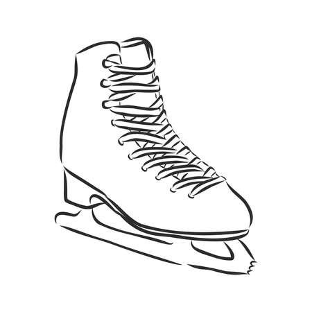 illustration of ice skating shoes and blades isolated on white background Çizim