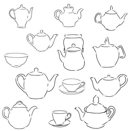 Hand drawn teapots and cups collection, including different teapots tea and coffee cups. Doodle outline collection.