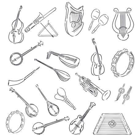 Set di strumenti musicali - disegnati a mano in vettoriale