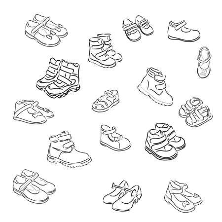 children's shoes, children's sandals, boots, sketch, contour vector illustration