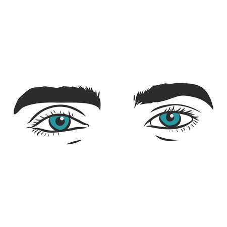Part of male face, astonished eyes. Black and white vector sketch. Simple drawing.