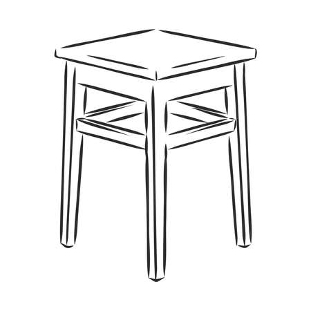 Stool wooden tabouret chair sketch engraving vector illustration. Scratch board style imitation. Hand drawn image. Ilustración de vector