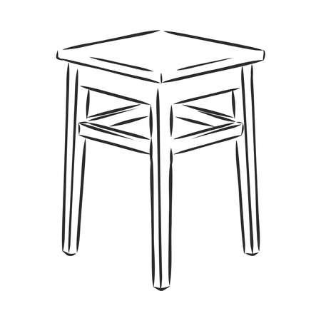 Taburete taburete de madera silla boceto grabado ilustración vectorial. Imitación de tablero de rascar. Imagen dibujada a mano. Ilustración de vector