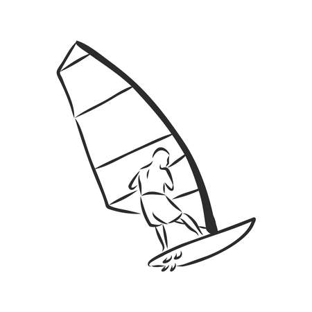 Windsurfing man hand drawn outline doodle icon.Windsurfer and sea, extreme sport, surfing and sail concept. Vector sketch illustration for print, web, mobile and infographics on white background. Иллюстрация