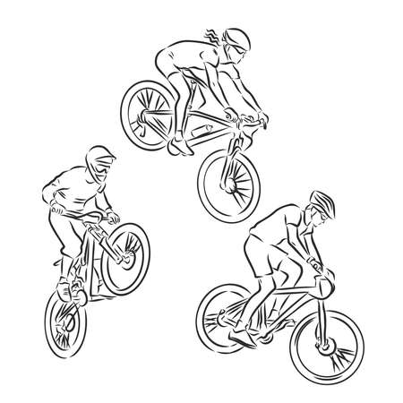 Motocross Extreme outline vector illustrations. Hand drawn sketch Illustration