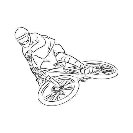 mountain biker, mountain bike, sketch, contour vector illustration Vektorové ilustrace