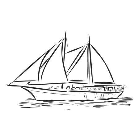 beautiful sailboat. vector illustration sketch. ship on the water Ilustração Vetorial