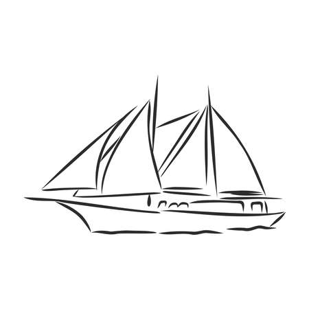 beautiful sailboat. vector illustration sketch. ship on the water
