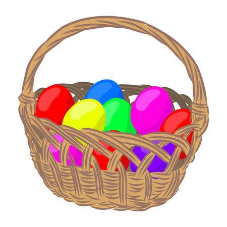 wicker basket with Easter eggs, vector illustration Vektorové ilustrace
