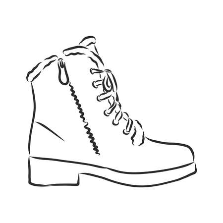 men's winter boots, winter shoes. vector sketch illustration