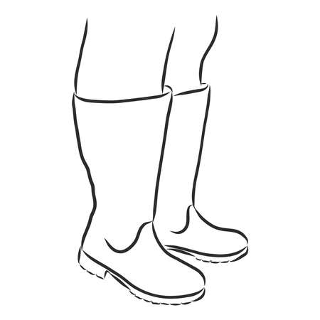 thick women's feet in winter boots, vector sketch illustration