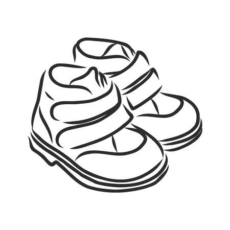 children's sandals, shoes, shoes for children, vector sketch illustration