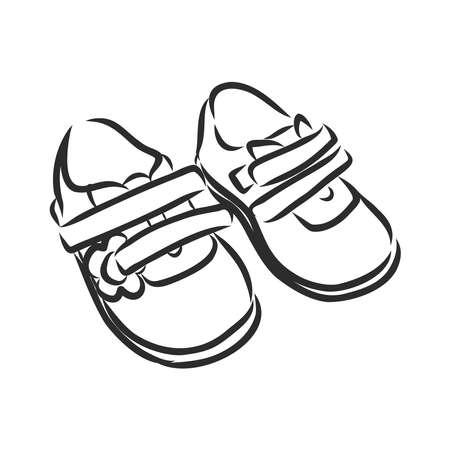 sandały dziecięce, buty, buty dla dzieci, szkic ilustracji wektorowych