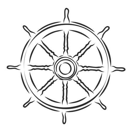sea wooden helm yacht, vector sketch illustration