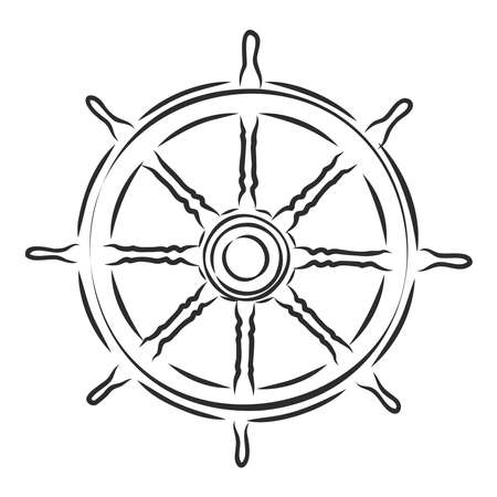 Yate de timón de madera de mar, ilustración de dibujo vectorial