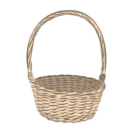 woven empty basket, gift decor vector illustration