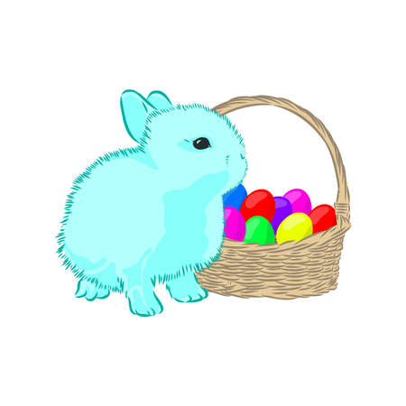 Easter bunny and basket with eggs, vector illustration for postcard