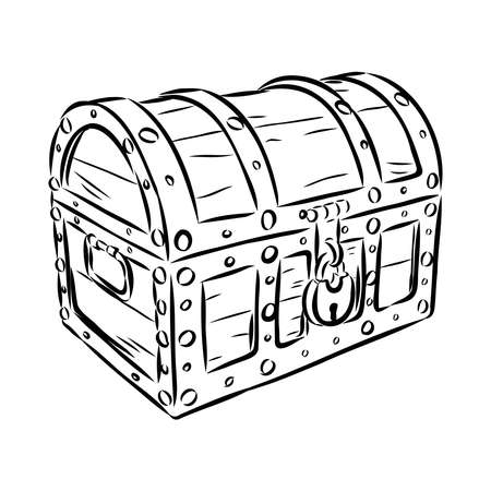 old vintage wooden chest with a castle, vector sketch illustration