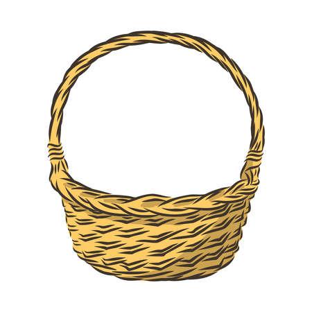 cestino vuoto intrecciato, illustrazione vettoriale di decorazioni regalo Vettoriali