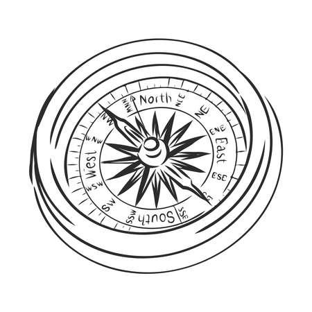 vintage compass, travel appliance, vector sketch illustration Иллюстрация