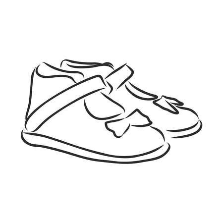 children's sandals, shoes, shoes for children, vector sketch illustration Zdjęcie Seryjne - 139574945