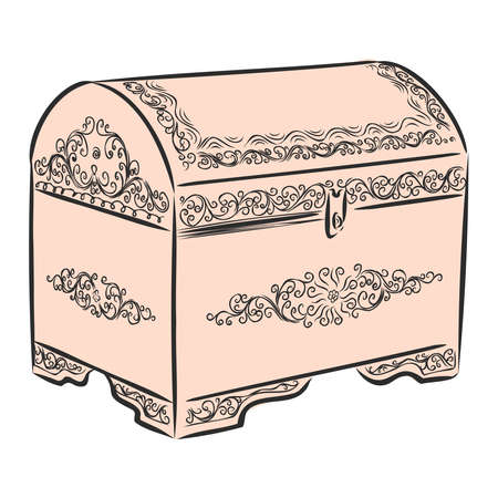 vintage beautiful wooden chest, vector sketch illustration Stock Illustratie