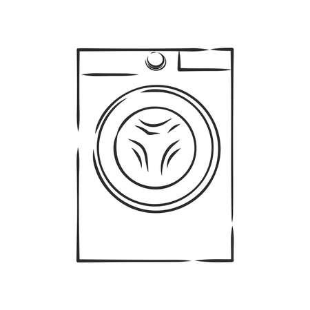 washing machine, Laundry sign, vector sketch illustration